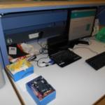 Un Intel Galileo dans sa boite, et l'IDE Arduino sur l'écran...